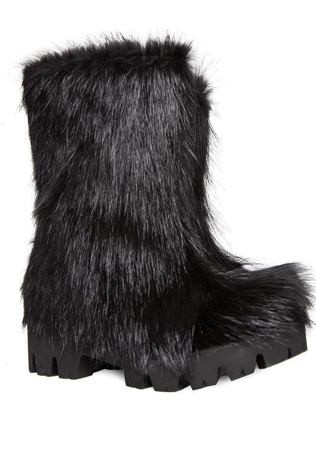 Coypu fur and leather ankle boots Mihaela Gheorghe image 1