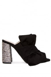 Ana Kaloni Knotted sequined suede mules