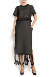 ATU Body Couture Fringed denim midi dress