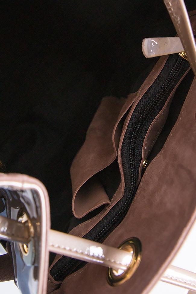 Rucsac din piele intoarsa si piele lacuita MINI Wisdom Backpack by Blanche imagine 3