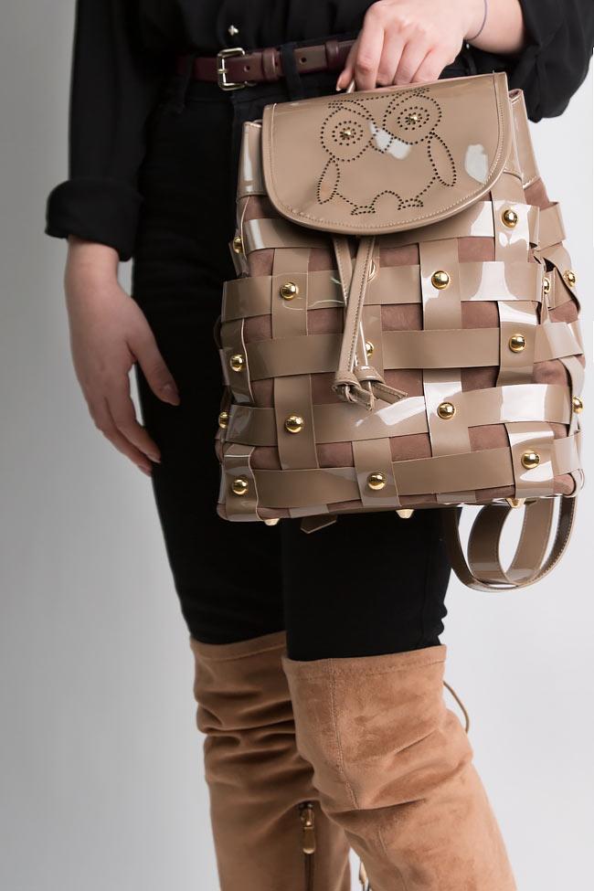 Rucsac din piele intoarsa si piele lacuita MINI Wisdom Backpack by Blanche imagine 4