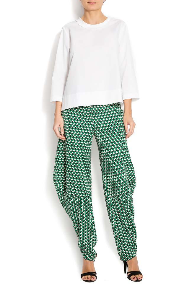 Pantaloni din crep imprimat cu motive geometrice Lena Criveanu imagine 0