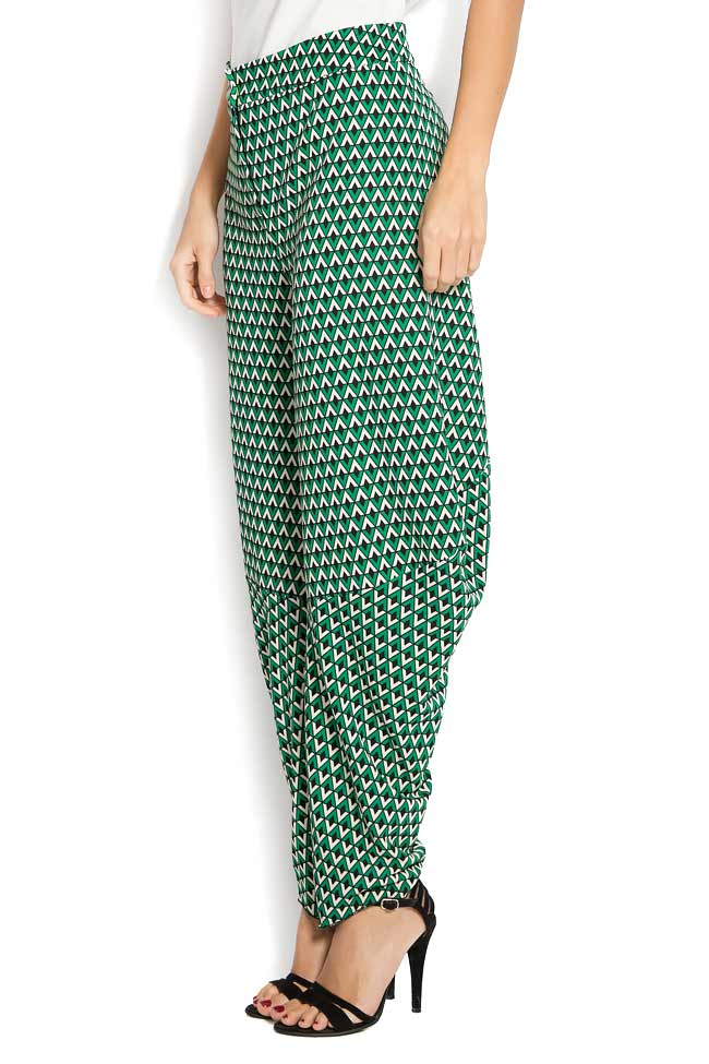 Pantaloni din crep imprimat cu motive geometrice Lena Criveanu imagine 1