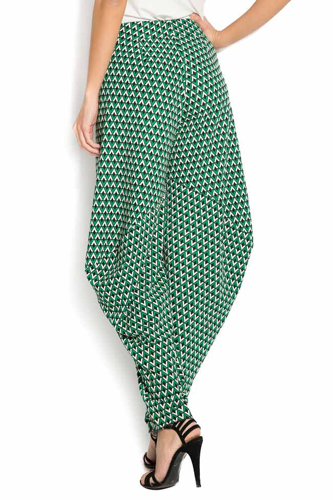 Pantaloni din crep imprimat cu motive geometrice Lena Criveanu imagine 2