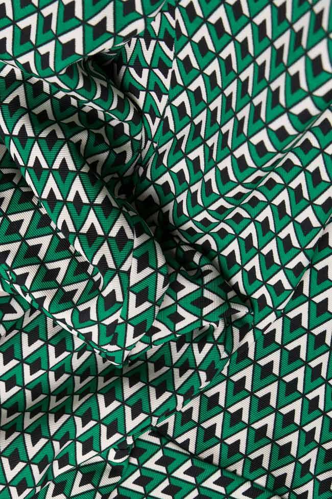 Pantaloni din crep imprimat cu motive geometrice Lena Criveanu imagine 3