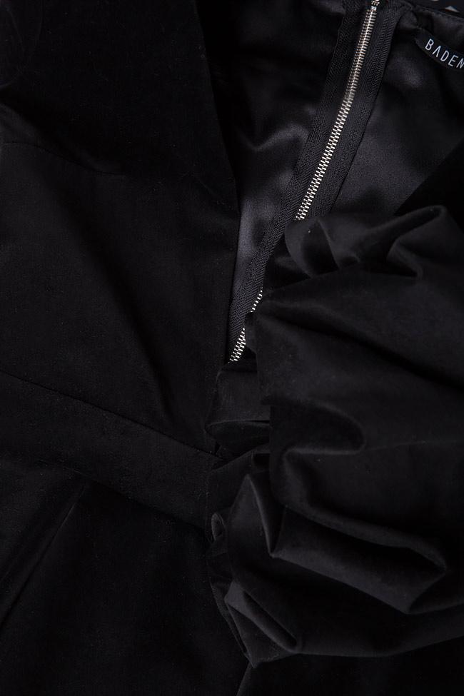 Bluza din catifea de bumbac cu mansete bufante si peplum asimetric  BADEN 11 imagine 3