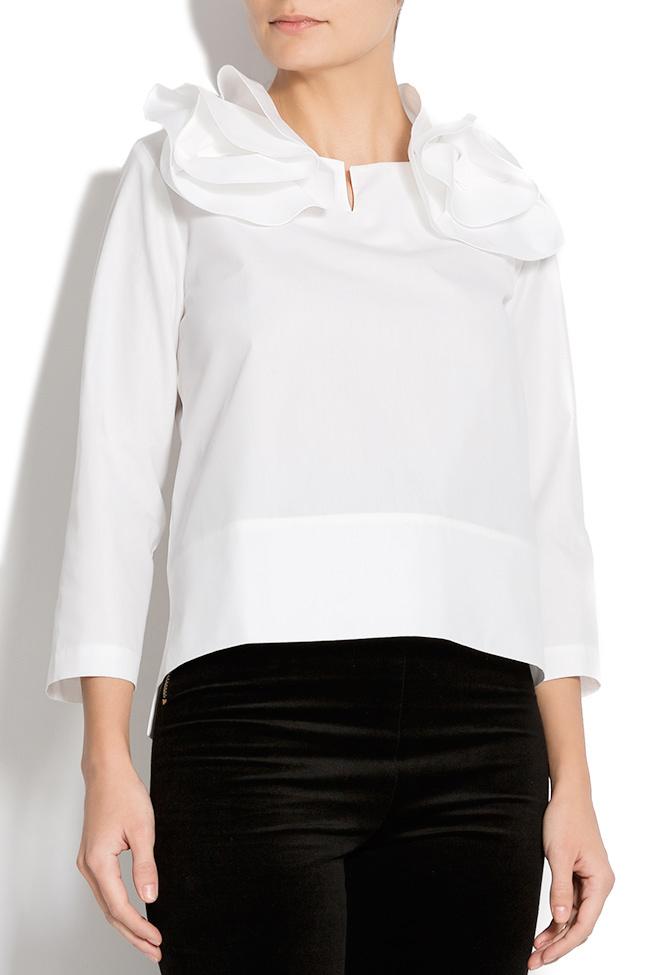 Bluza din bumbac cu guler din volane Lena Criveanu imagine 1