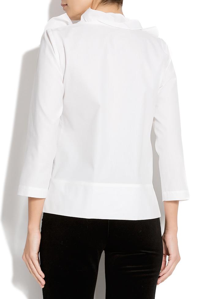Bluza din bumbac cu guler din volane Lena Criveanu imagine 2
