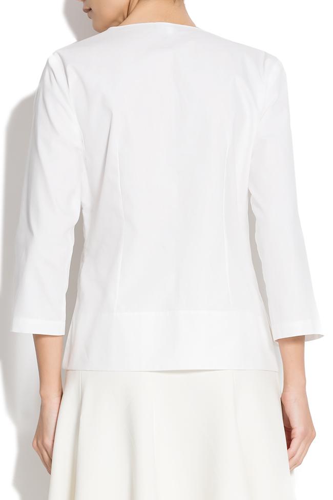 Bluza din bumbac tip camasa cu funda Lena Criveanu imagine 2