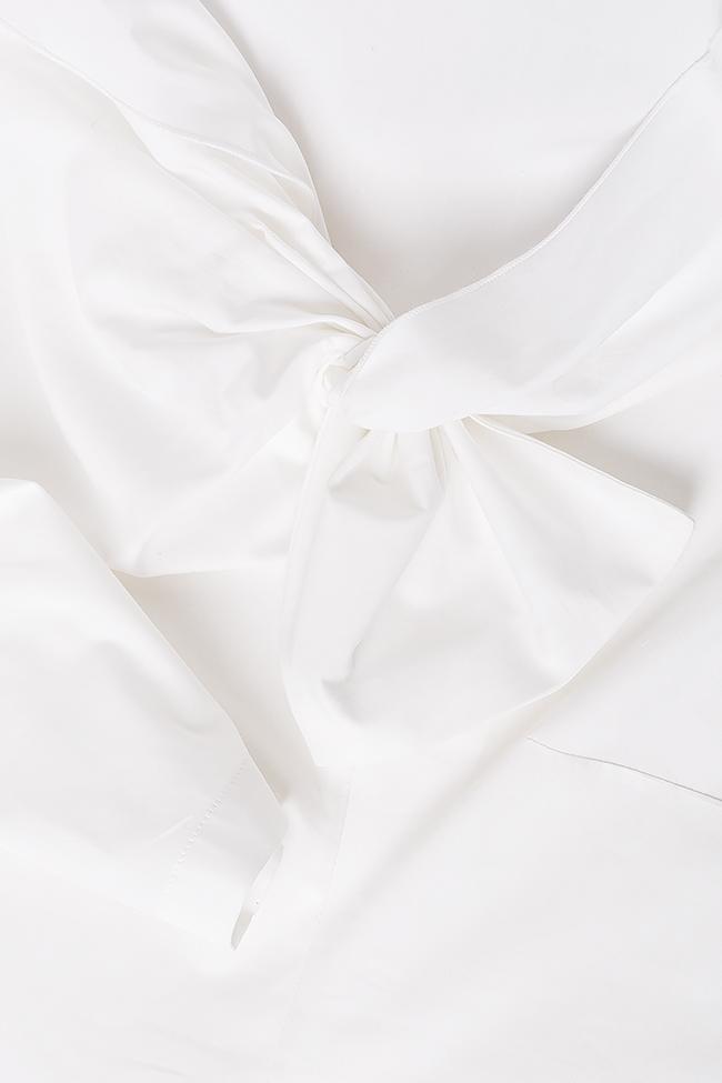 Bluza din bumbac tip camasa cu funda Lena Criveanu imagine 3