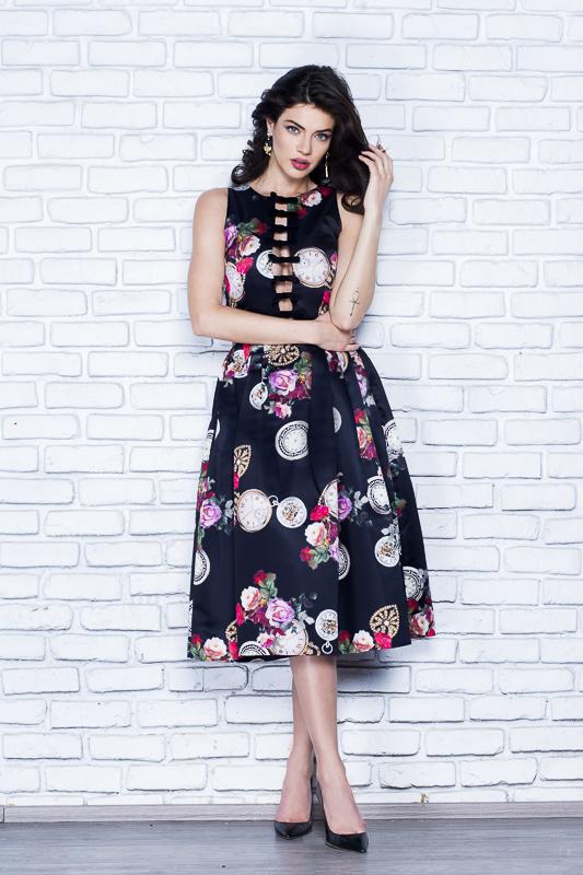4781b2f3601c Printed duchess silk-satin gown - Midi Dresses made to measure