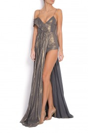 Simona Semen Metallic cotton overalls with asymmetric skirt