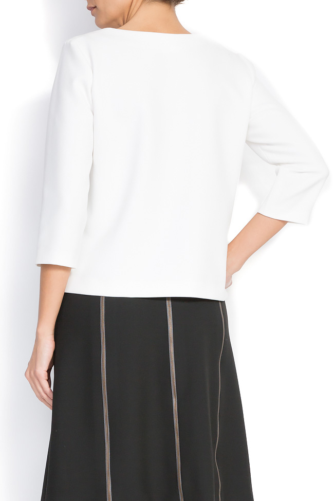 Bluza din amestec de bumbac cu decolteu asimetric Claudia Castrase imagine 2