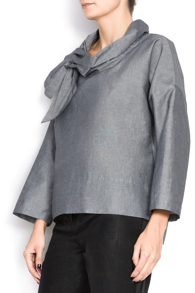 Bluza din bumbac cu esarfa  Lena Criveanu imagine 1