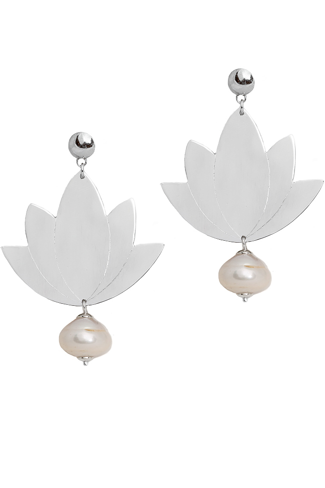 Silver and aluminum earrings with pearl LOTUS Eneada image 0