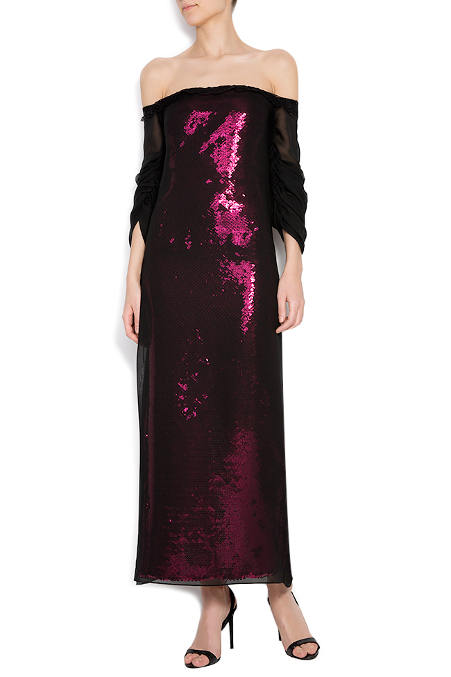 Barbara sequin dress with veil overlay Dorin Negrau image 0