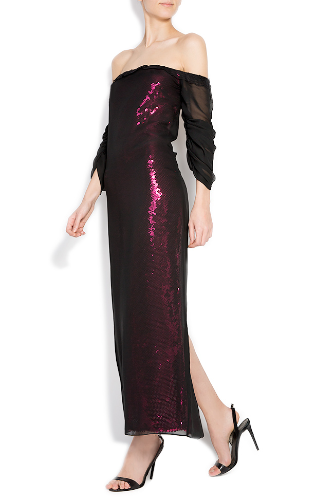 Barbara sequin dress with veil overlay Dorin Negrau image 1