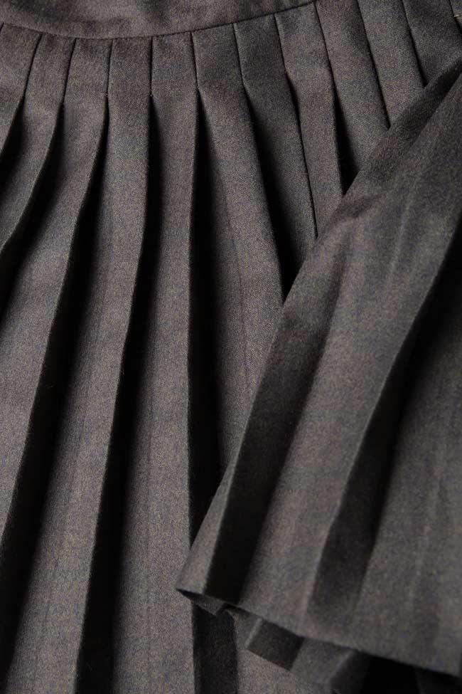 Fusta plisata din stofa de lana CATHERINE OMRA imagine 3