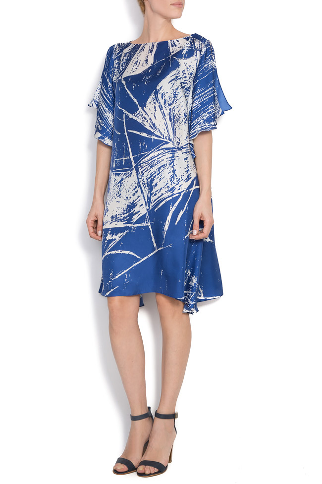 Deep blue printed silk Argo by Andreea Buga image 0