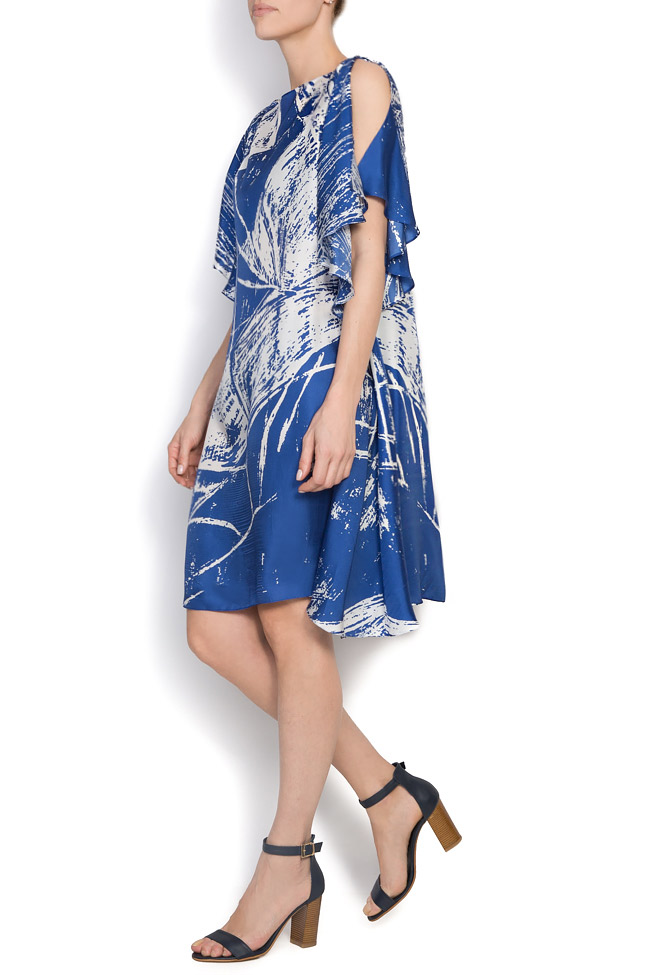 Deep blue printed silk Argo by Andreea Buga image 1