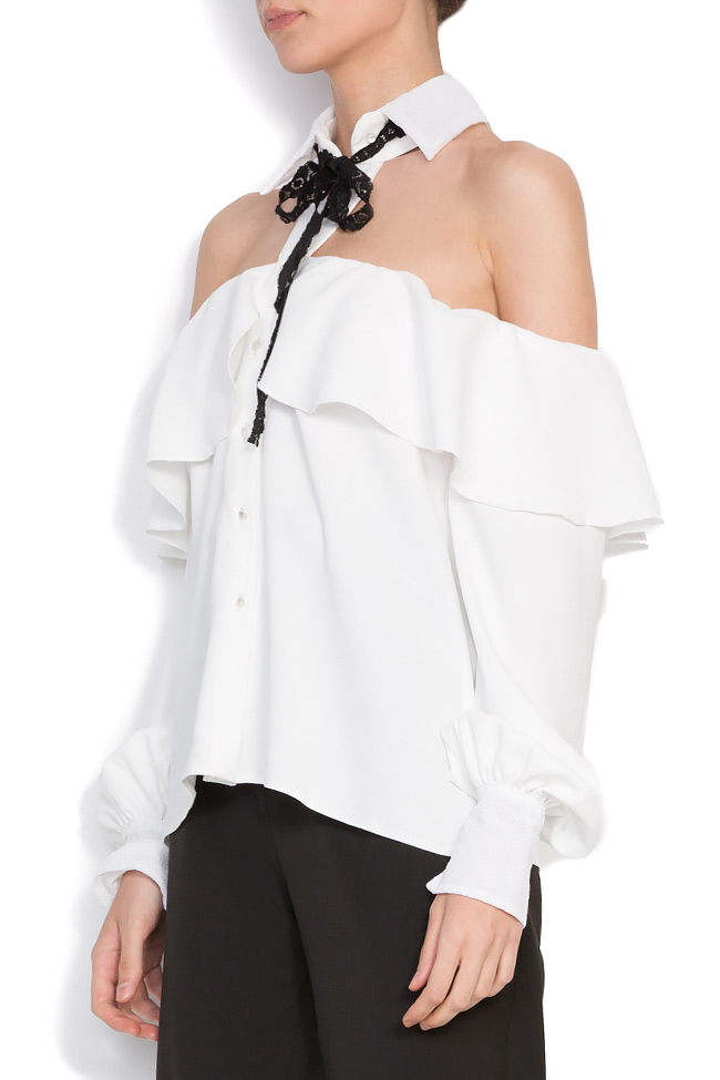 Cutout crepe and lace top Florentina Giol image 1