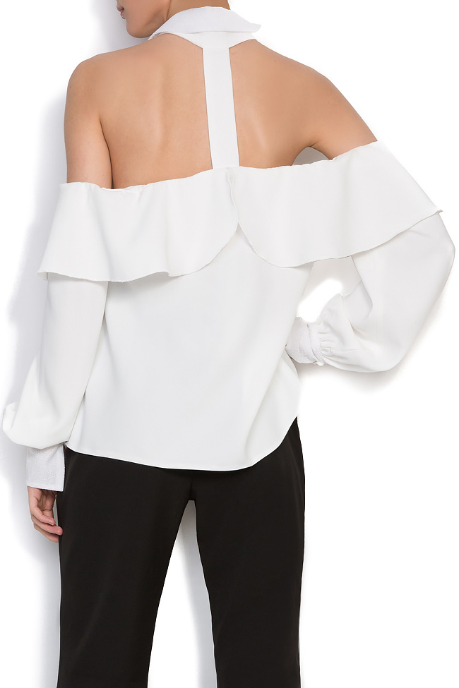 Cutout crepe and lace top Florentina Giol image 2
