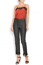 ATU Body Couture Denim crop fringe pants