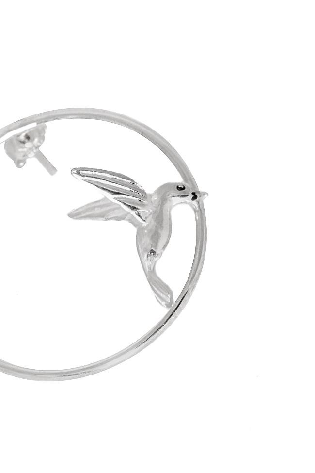 Cercei realizati manual din argint cu pasare colibri Snob. imagine 2