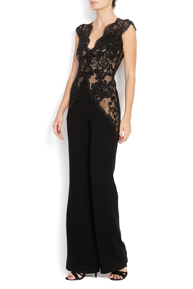 KIRA crepe and lace jumpsuit M Marquise image 1