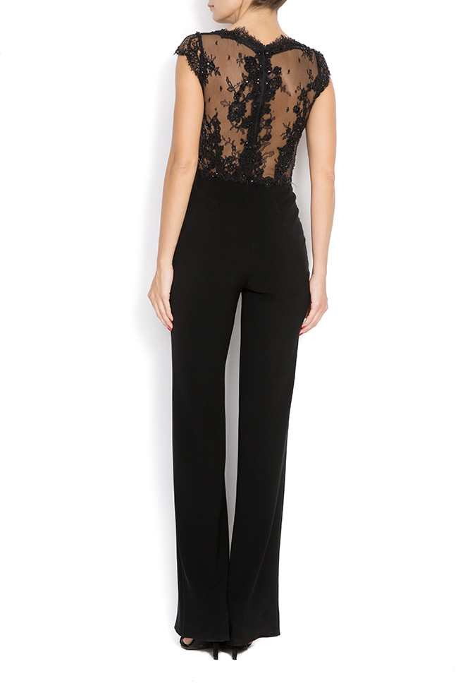 KIRA crepe and lace jumpsuit M Marquise image 2
