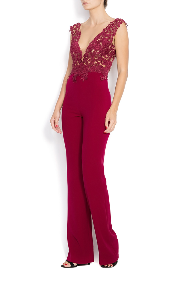 LACEY crepe and lace jumpsuit M Marquise image 1