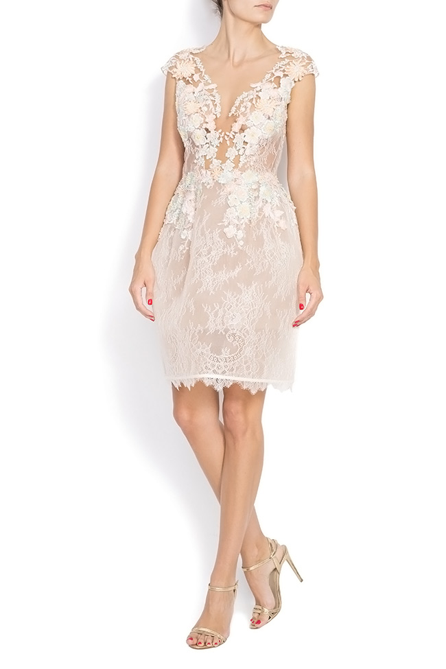 Lace-trimmed embroidered organza mini dress CALLY M Marquise image 0
