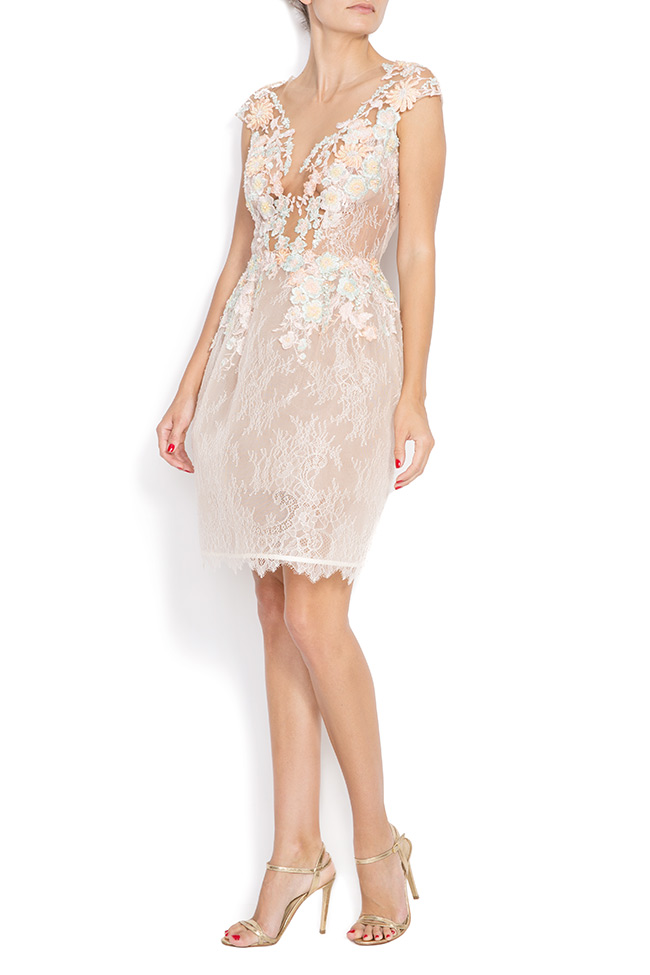 Lace-trimmed embroidered organza mini dress CALLY M Marquise image 1