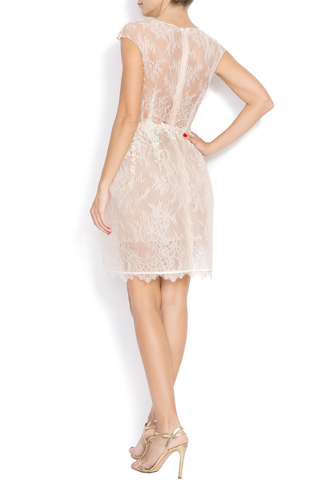 Lace-trimmed embroidered organza mini dress CALLY M Marquise image 2