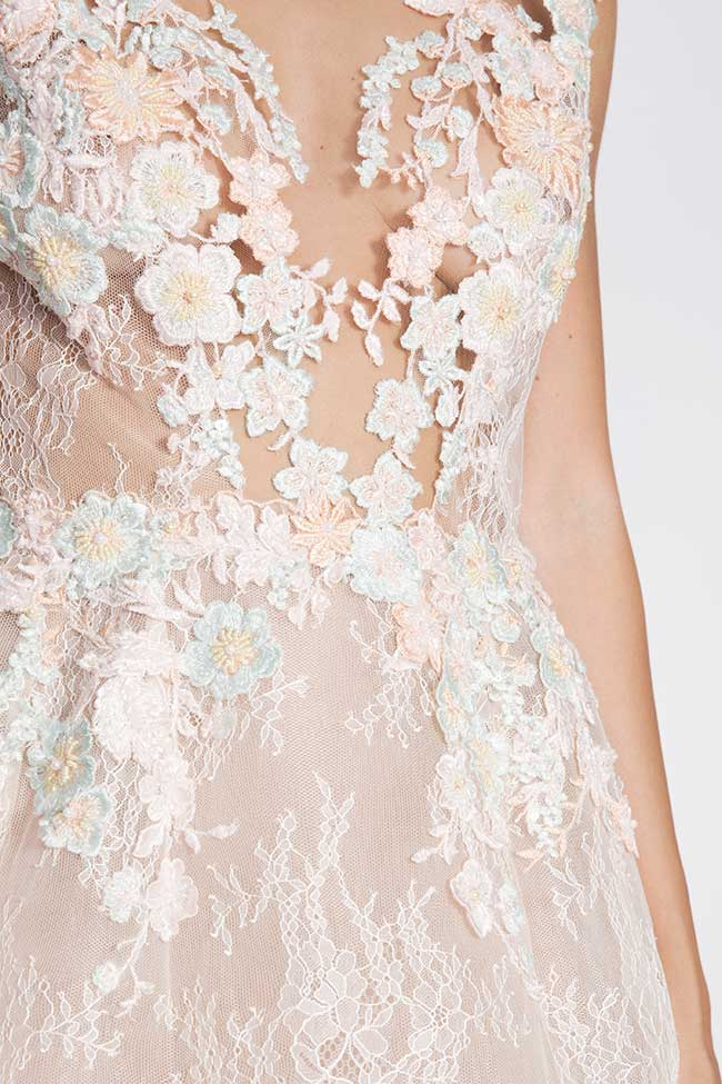 Lace-trimmed embroidered organza mini dress CALLY M Marquise image 3