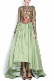 Bien Savvy Embroidered silk tulle gown