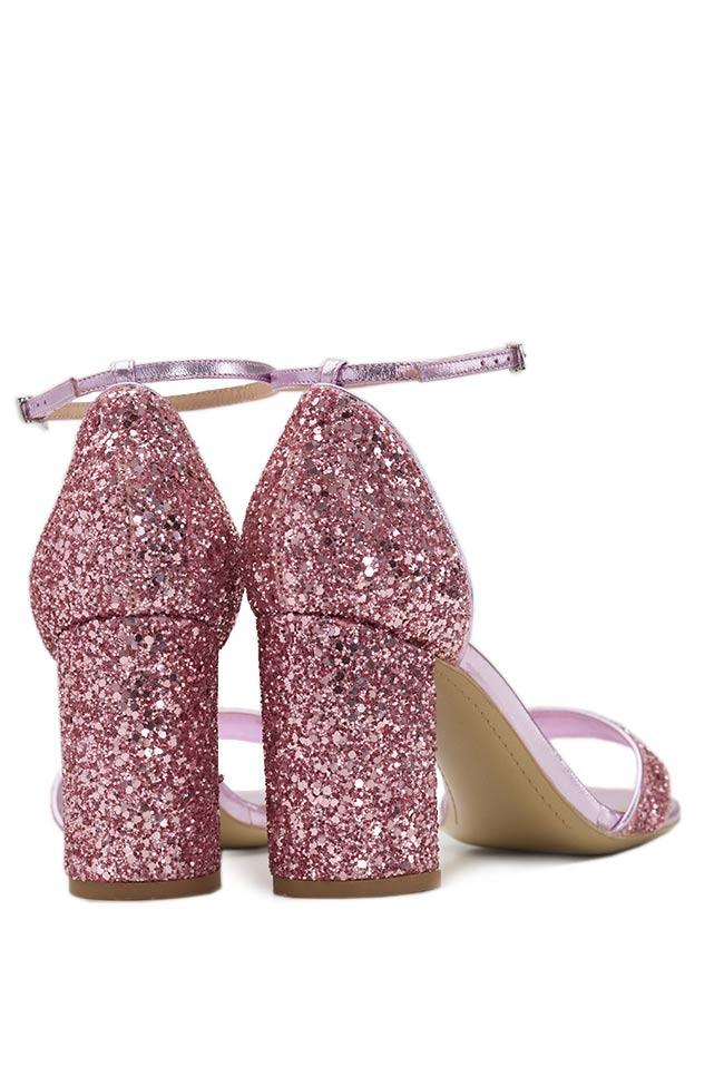 Glittered leather sandals Mihai Albu image 2