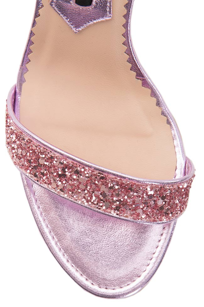 Glittered leather sandals Mihai Albu image 3