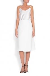 Claudia Castrase Cotton-blend wrap midi skirt