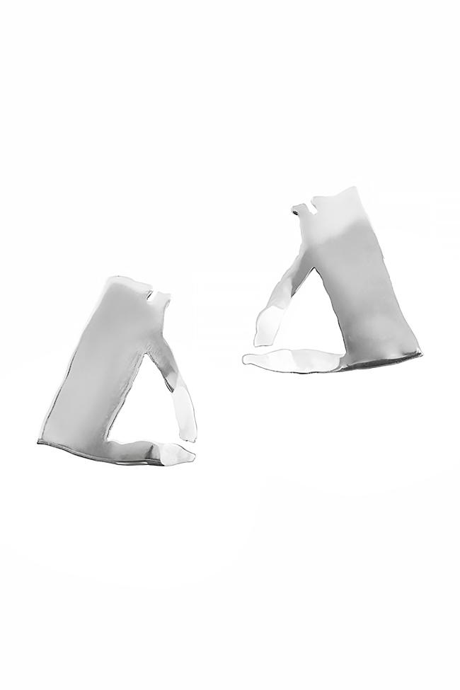 Triangle silver earrings Moogu image 0