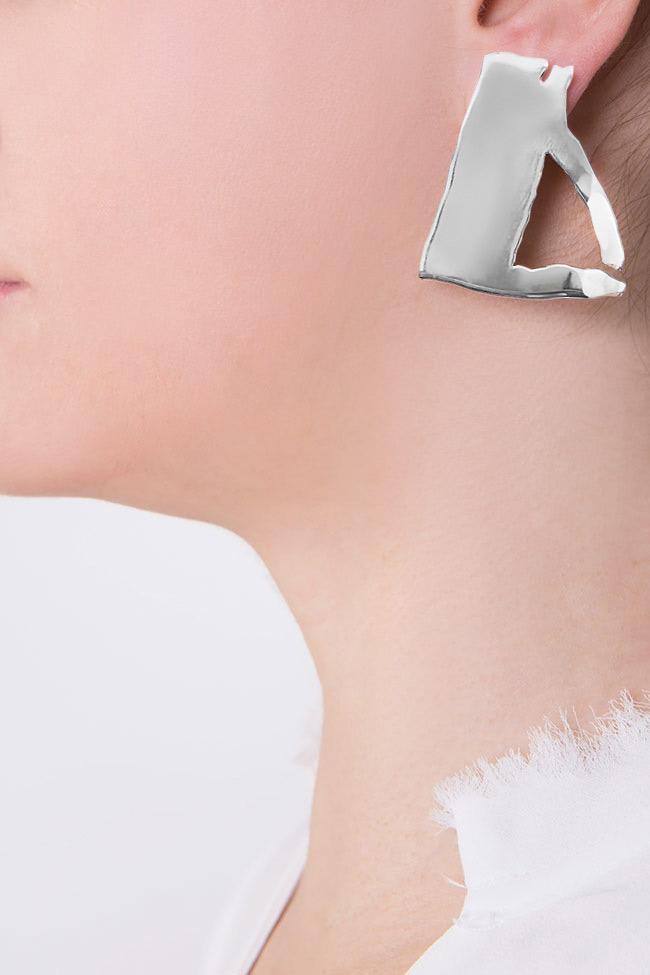 Triangle silver earrings Moogu image 3