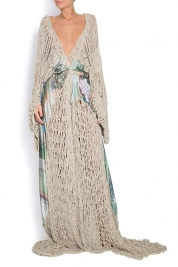 Dorin Negrau Crochet-trimmed cotton silk maxi dress