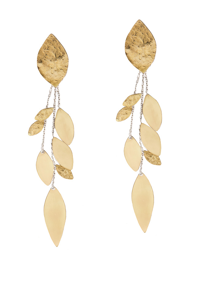 Rain of Leaves silver and brass earrings Eneada image 0