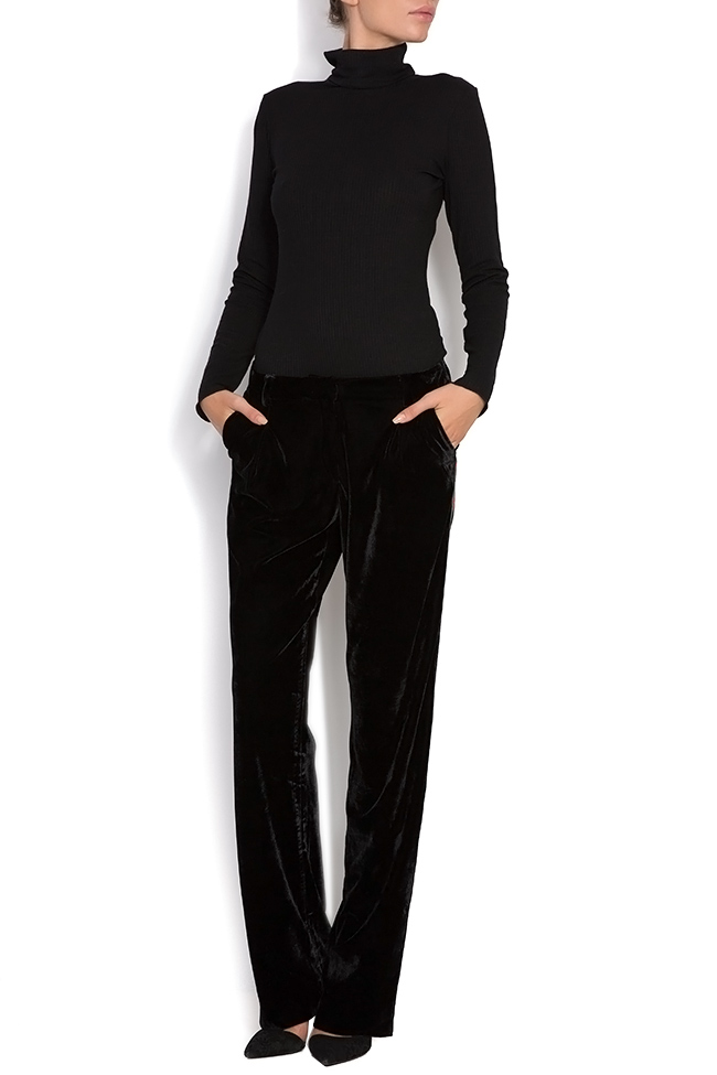 Danny striped velvet wide-leg pants Shakara image 0