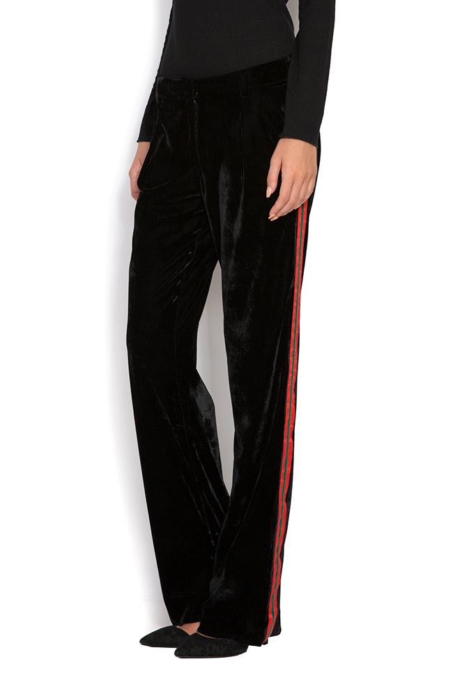 Danny striped velvet wide-leg pants Shakara image 1