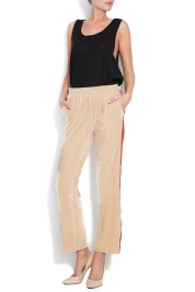 Shakara Kay striped velvet wide-leg pants