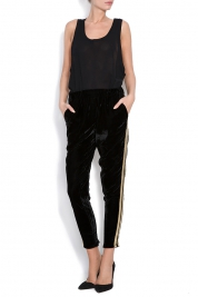 Shakara Maggie striped velvet wide-leg pants
