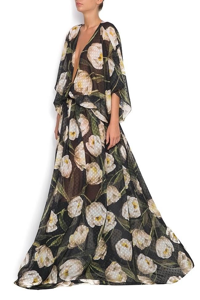 Rochie maxi din voal de matase cu imprimeuri LaRochelle imagine 1
