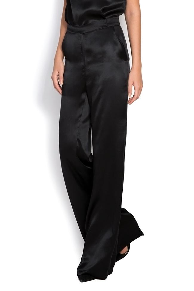 Silk-satin wide-leg pants Aureliana image 1