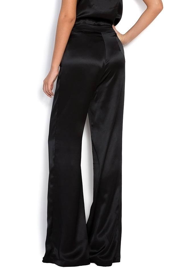 Silk-satin wide-leg pants Aureliana image 2